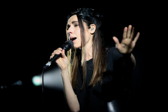 PJ Harvey uses a Sennheiser MD 431 for her festival shows (photo by Christie Goodwin)