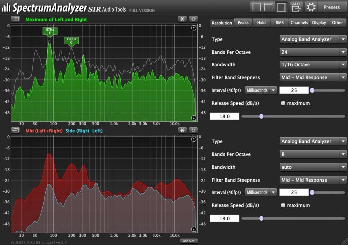 SIR Audio Tools SpectrumAnalyzer customizable
