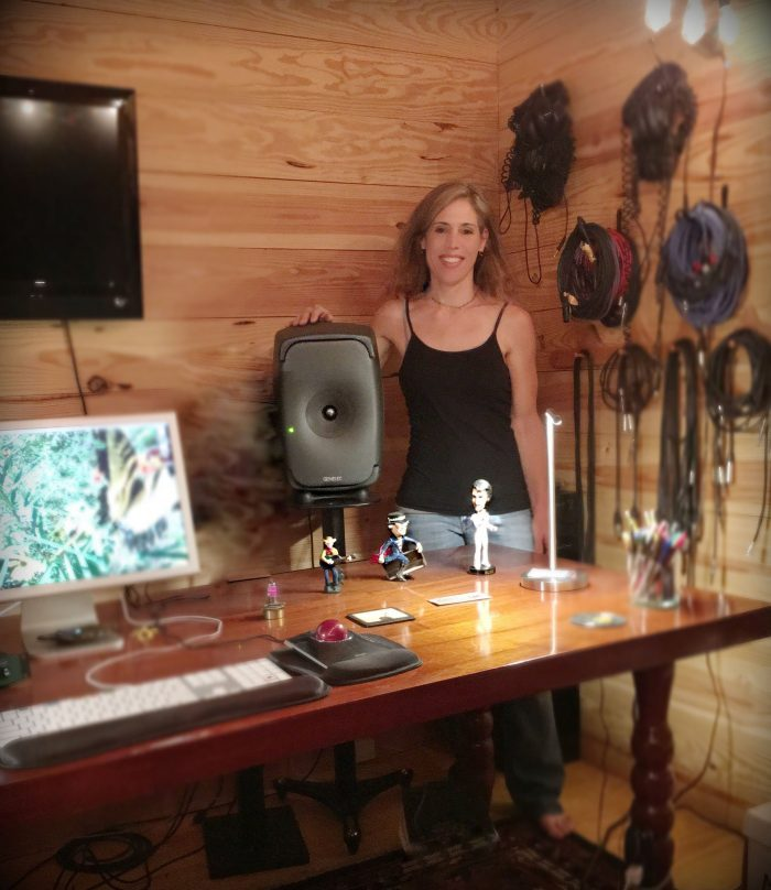Trina Shoemaker, shown with her 8351 three way Smart Active Monitor (SAM) from Genelec
