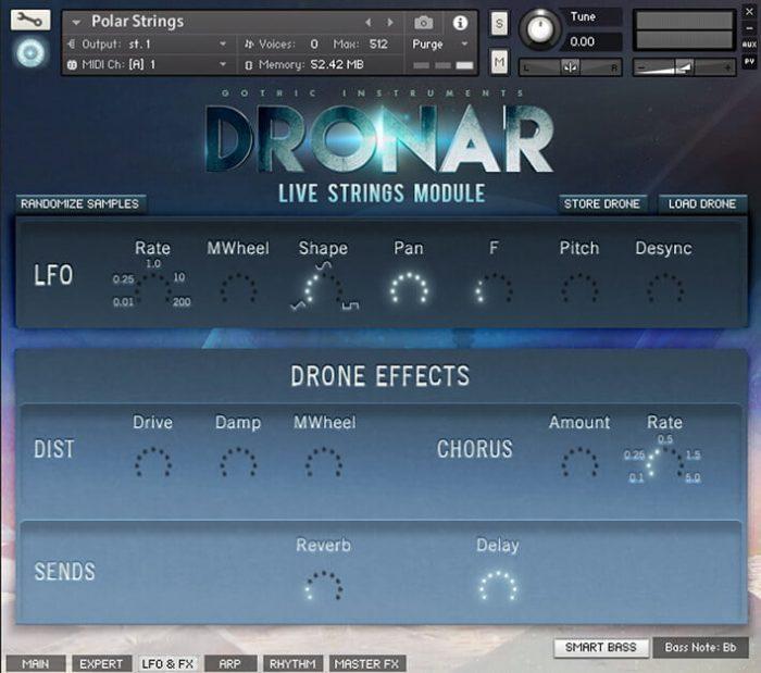 DRONAR Live Strings LFO FX