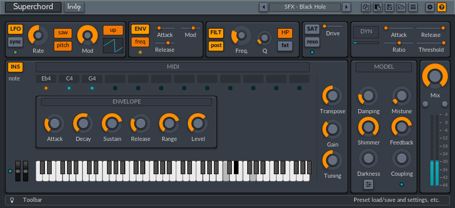 lmdsp Superchord instrument mode
