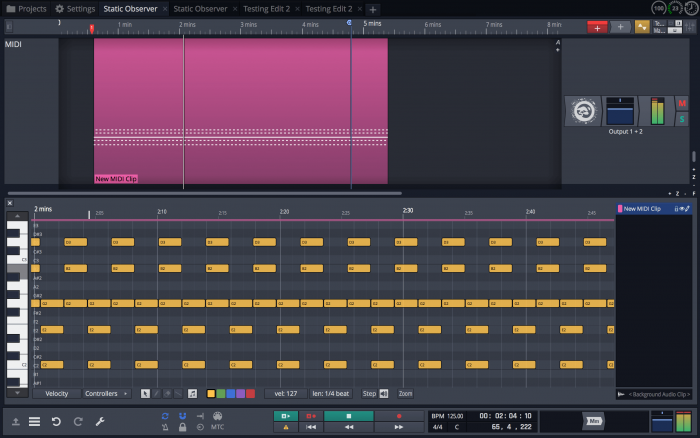 Tracktion Waveform MIDI screen
