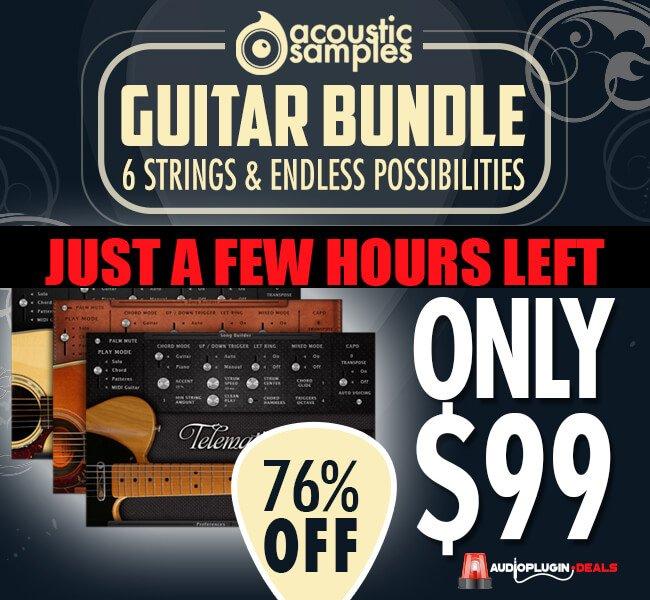 Audio Plugins Deals AcousticSamples 3 in 1 Guitar Bundle hours