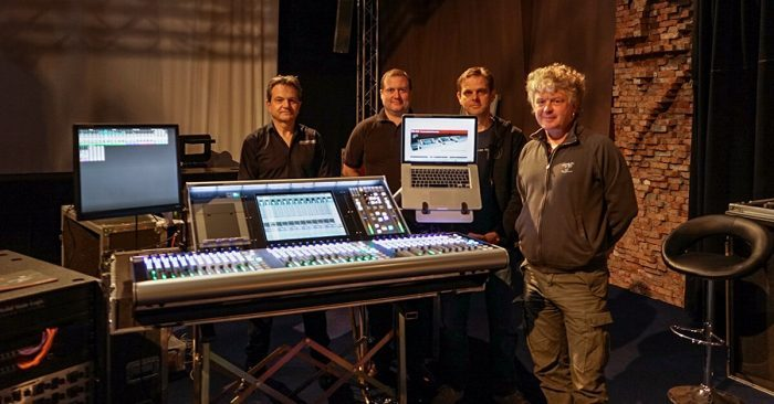 Tim Harrison (SSL Sales Manager), Richard Wand (SSL Service Engineer), Glenn Willems (FACE Account Manager Audio), and Hugues Rogie, (FACE Account Manager Audio)