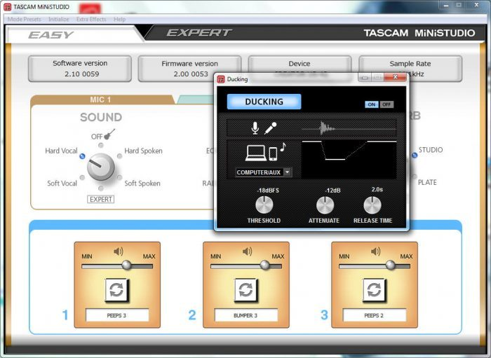 Tascam MiNiSTUDIO software