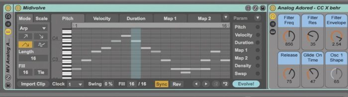 Ableton Coldcut MidiVolve screen