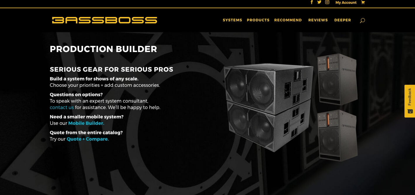 Bassboss launches new website with custom system builders for Production builder