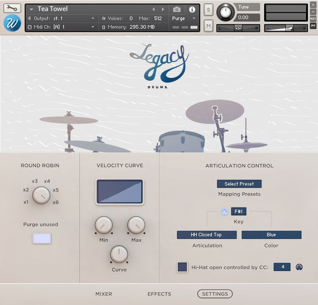 Wavesfactory Legacy Drums settings