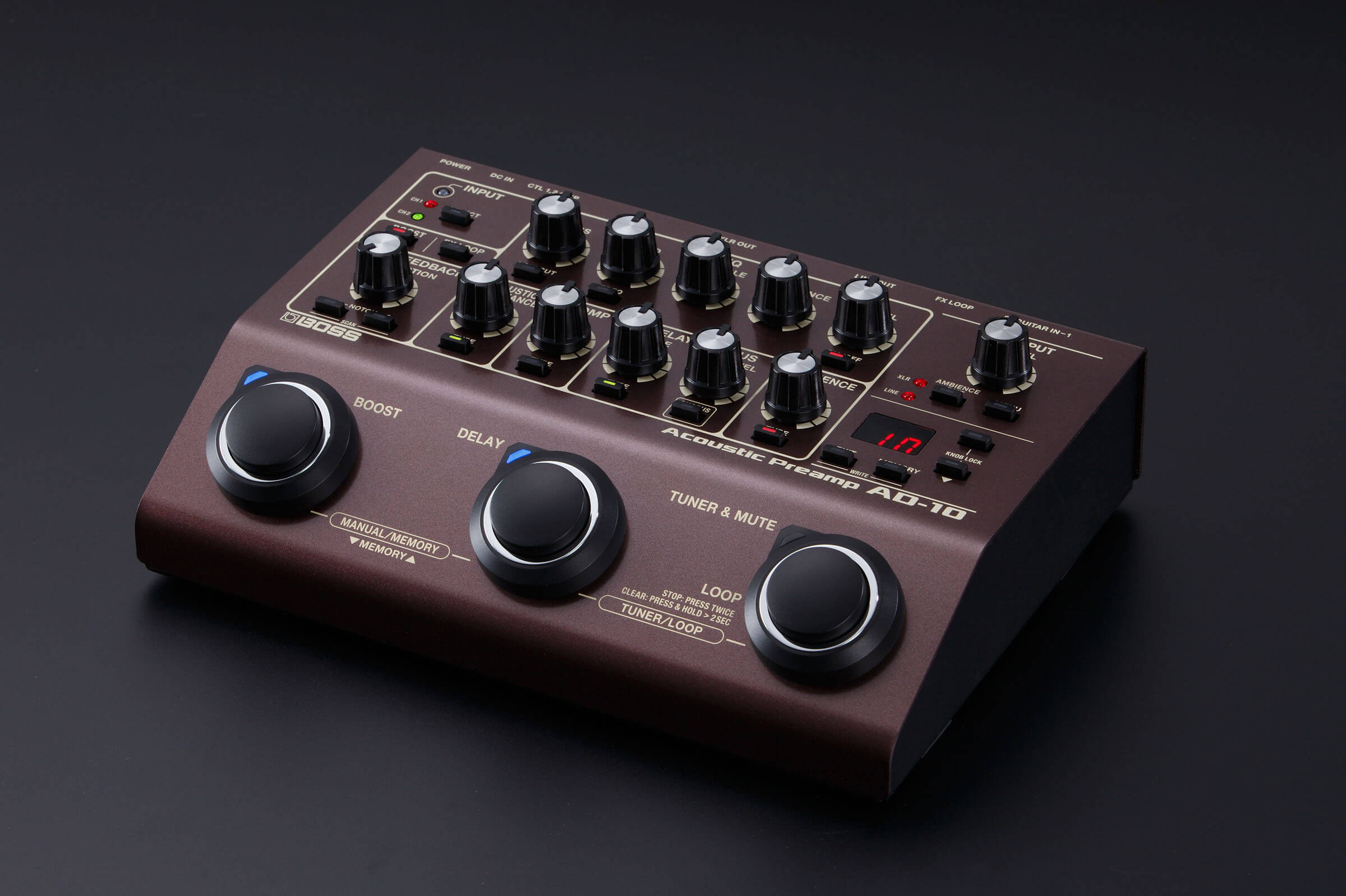 boss ad 10 acoustic preamp di pedal introduced. Black Bedroom Furniture Sets. Home Design Ideas