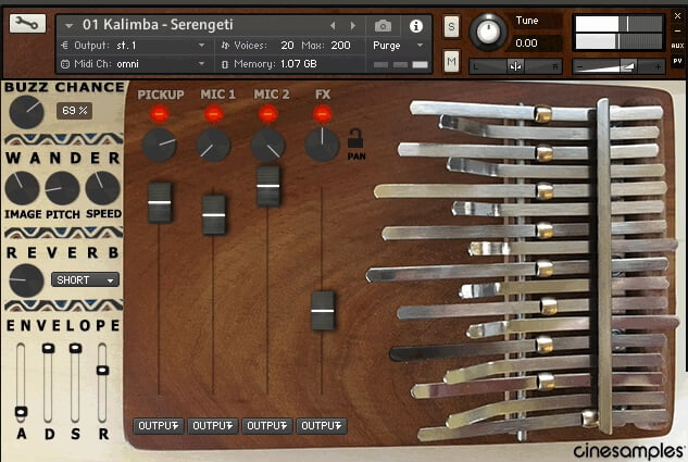 Cinesamples Kalimba screen