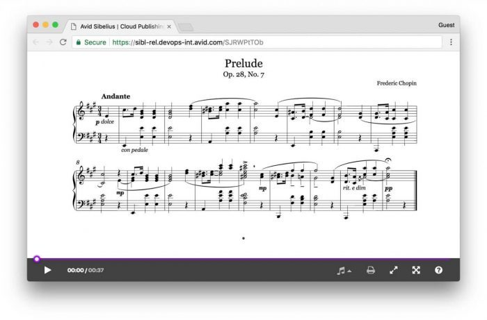Avid Sibelius Cloud sharing