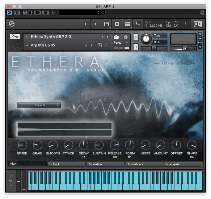 Zero G Ethera Soundscapes 2.0 GUI