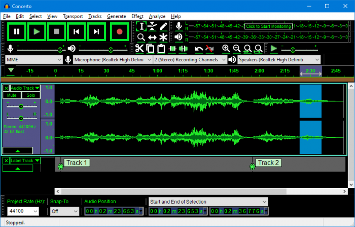 Audacity 2.2.0 high contrast