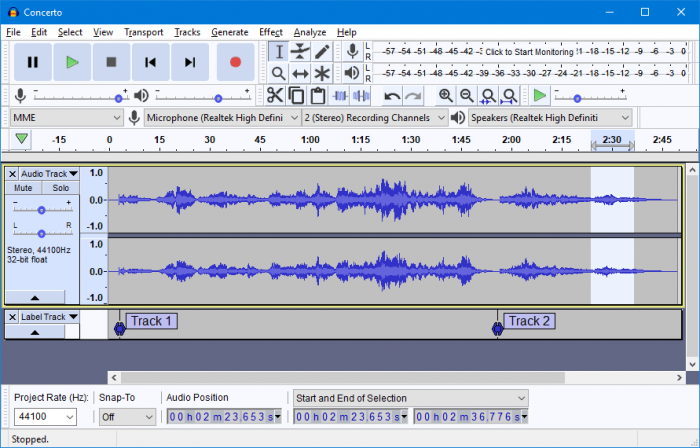 Audacity 2.2.0 light