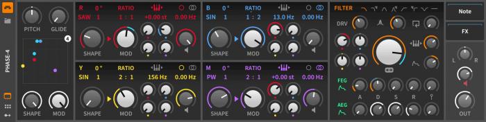 Bitwig Studio 2.3 Phase 4 synthesizer