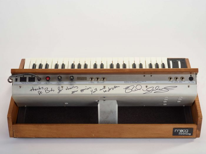 Bob Moog Foundation Vintage Minimoog signed by Rick Wakeman back