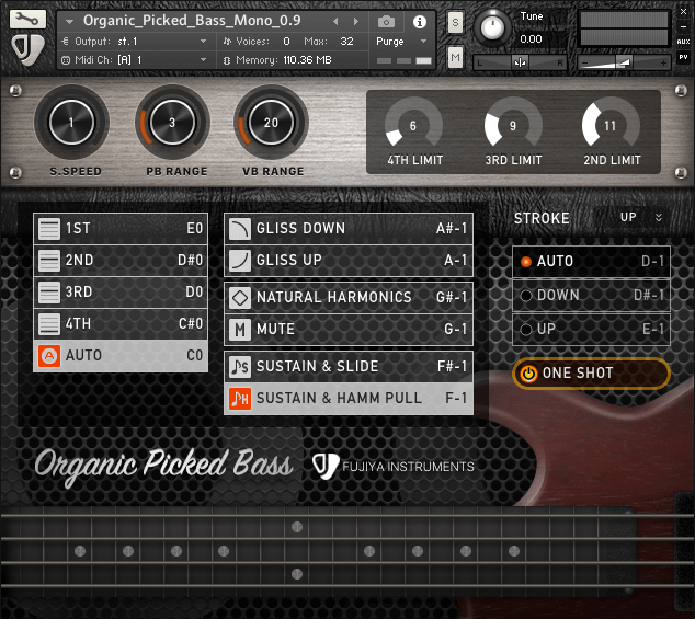 Fujiya Instruments Organic Picked Bass for Kontakt