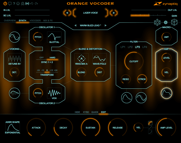 Zynpatiq Orange Vocoder 4 synth amp adsr
