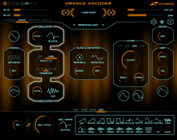 Zynpatiq Orange Vocoder 4 synth waveforms