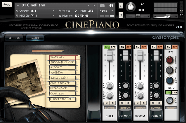 Cinesamples CinePiano GUI