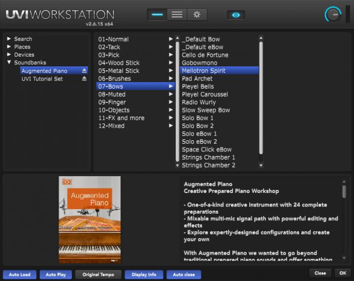 UVI Augmented Piano screen preparations