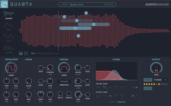 Audio Damage Quanta screen
