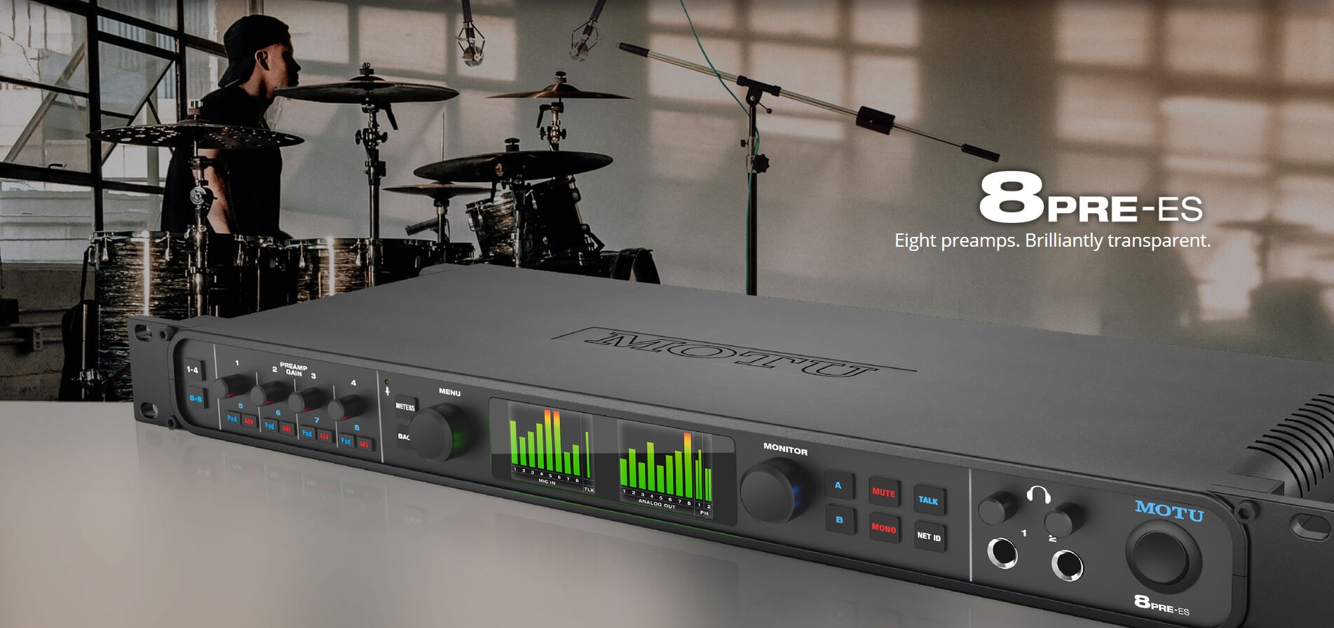 MOTU Ships 8pre Es Audio Interface With 8 Mic Inputs