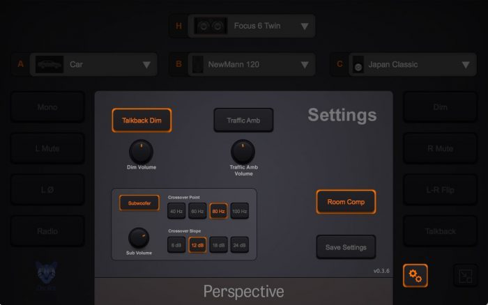 Oscillot Audio Perspective settings