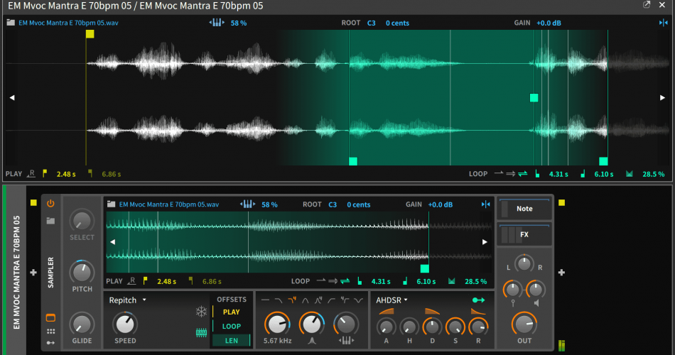 Bitwig Studio 2.4 Sampler