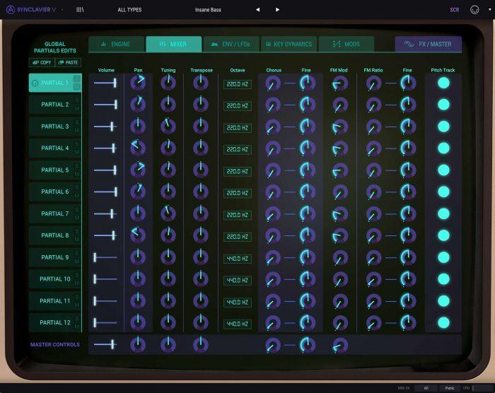 Arturia Synclavier V 2 Mixer