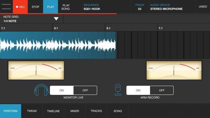 Akai Pro iMPC Pro 2 audio track