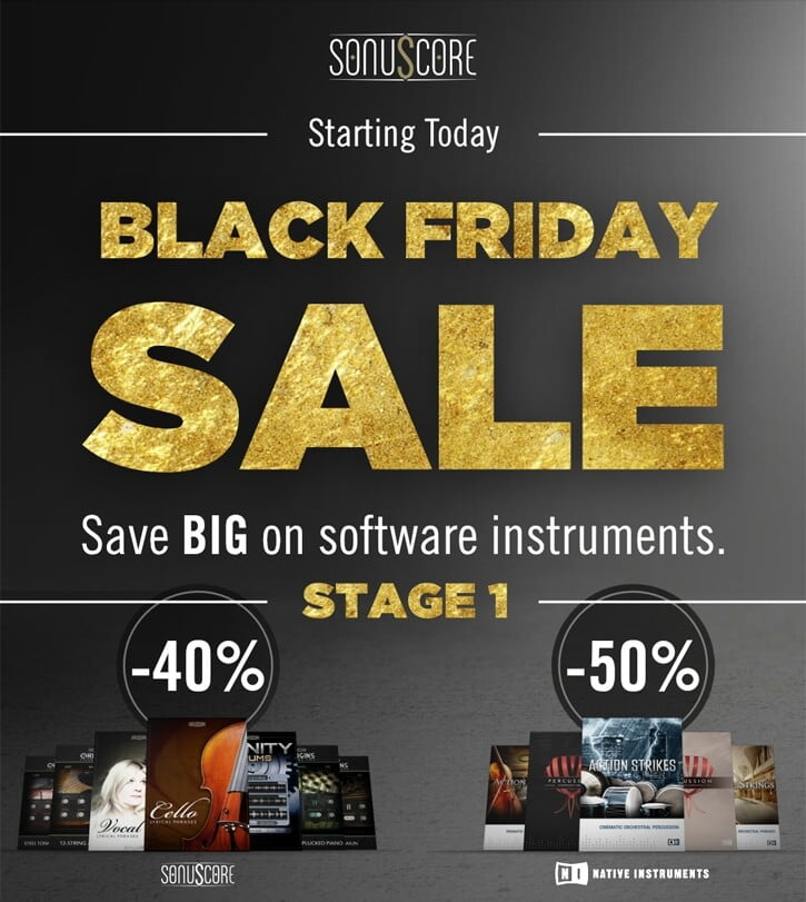Save up to 50% off virtual instruments at Sonuscore