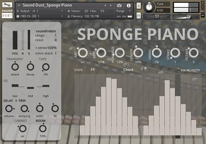 Sound Dust Sponge Piano GUI