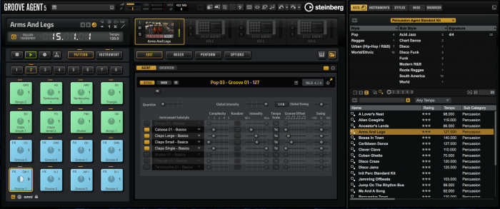 Steinberg Groove Agent 5 Percussion Agent Pattern