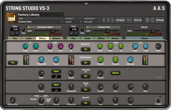 AAS String Studio VS 3 effects