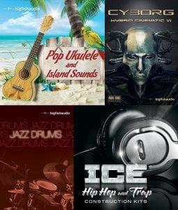 Big Fish Audio Pop Ukulele and Island Sounds, Cyborg, Jazz Drums & ICE