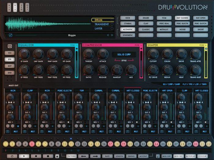 Wave Alchemy Drumvolution screen efx page