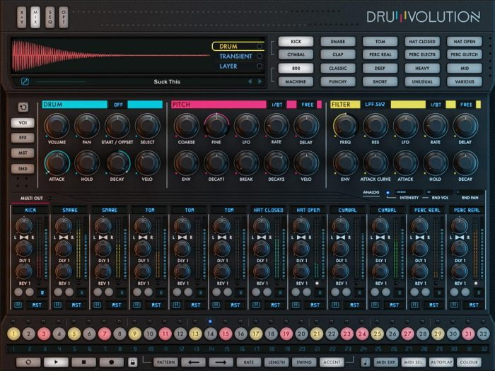 Wave Alchemy Drumvolution screen main mix colour