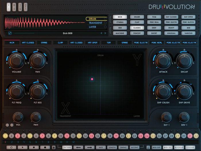Wave Alchemy Drumvolution screen xy page
