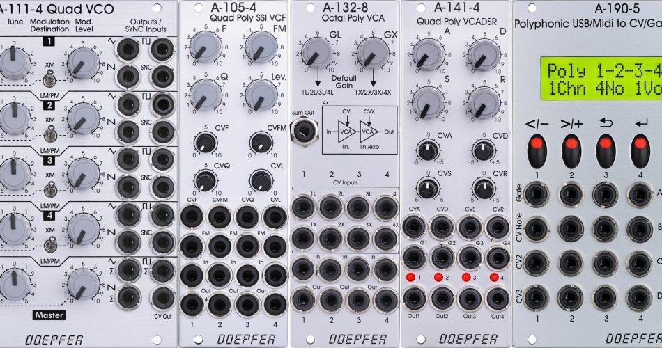 Doepfer Eurorack modules A 111 4 A 105 4 A 132 8 A 141 4 and A 190 5