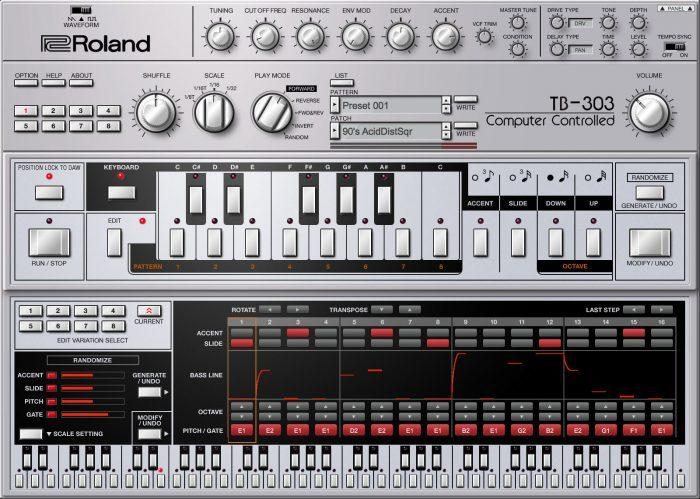 Roland Cloud TB 303 edit panel