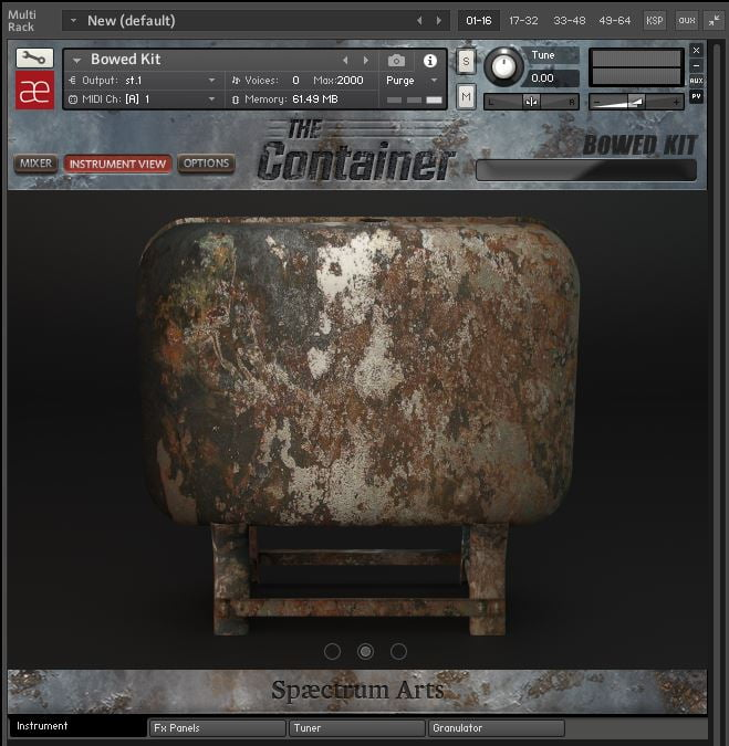 Spaectrum Arts The Container Instrument View