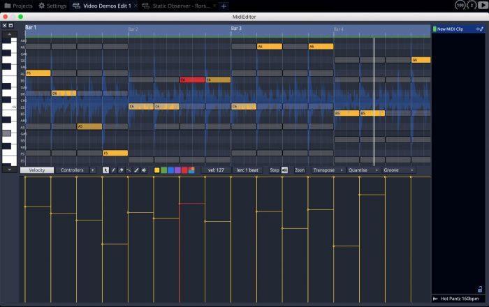 Tracktion Waveform10 midi editor