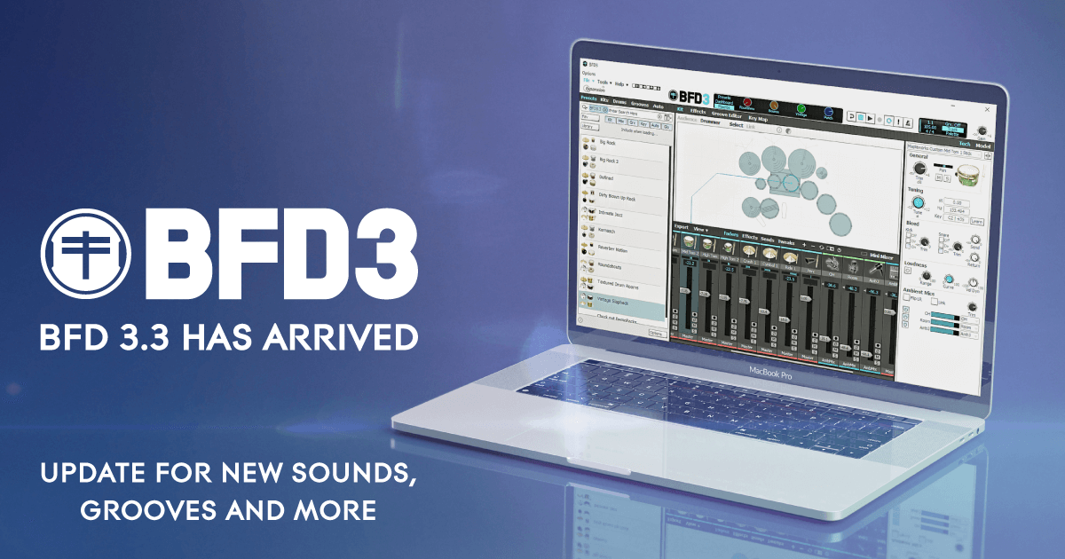 FXpansion's BFD3 virtual drum instrument updated to v3.3