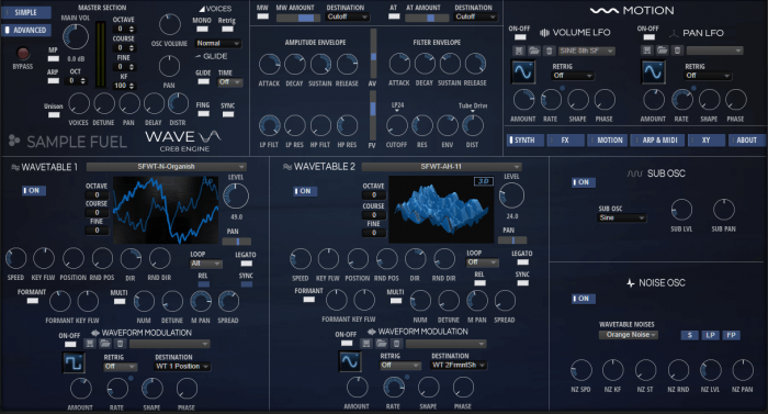 Sample Fuel Wave 2 advanced synth page