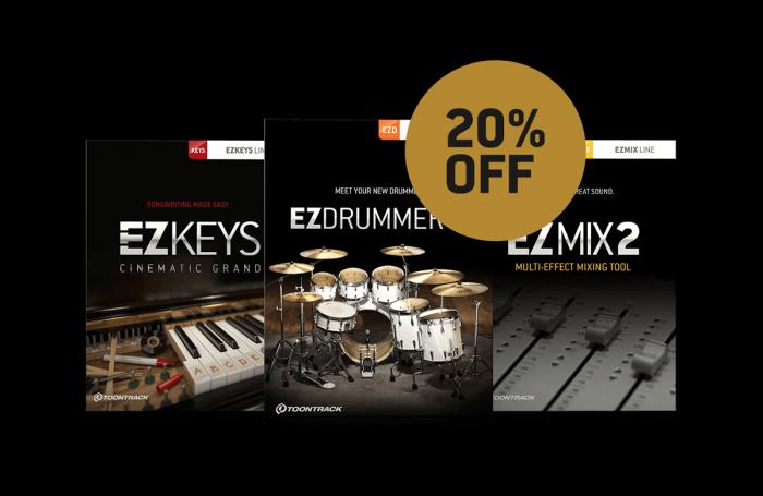 Toontrack EZdrummer, EZkeys & EZmix 20 OFF