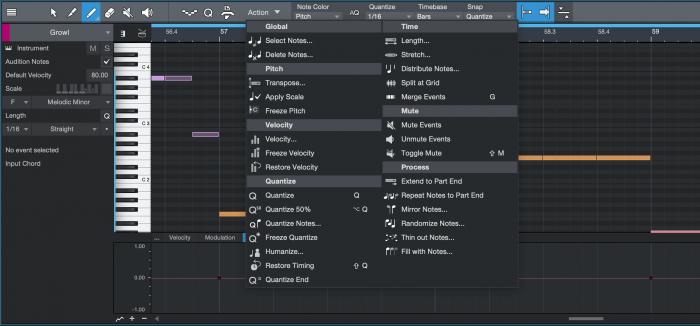 PreSonus Studio One 4.5 Music Editor Note Actions