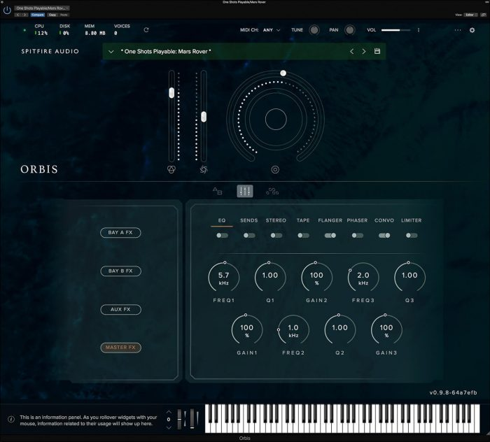 Spitfire Audio Orbis FX GUI