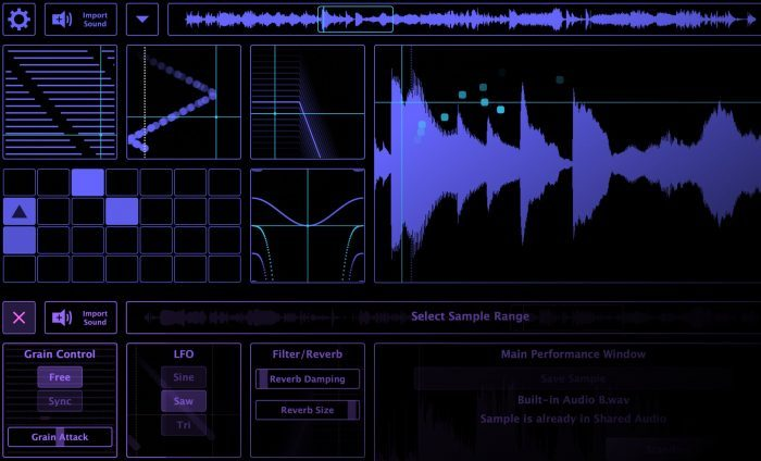 Tracktion Spacecraft Granular Synth screen 1
