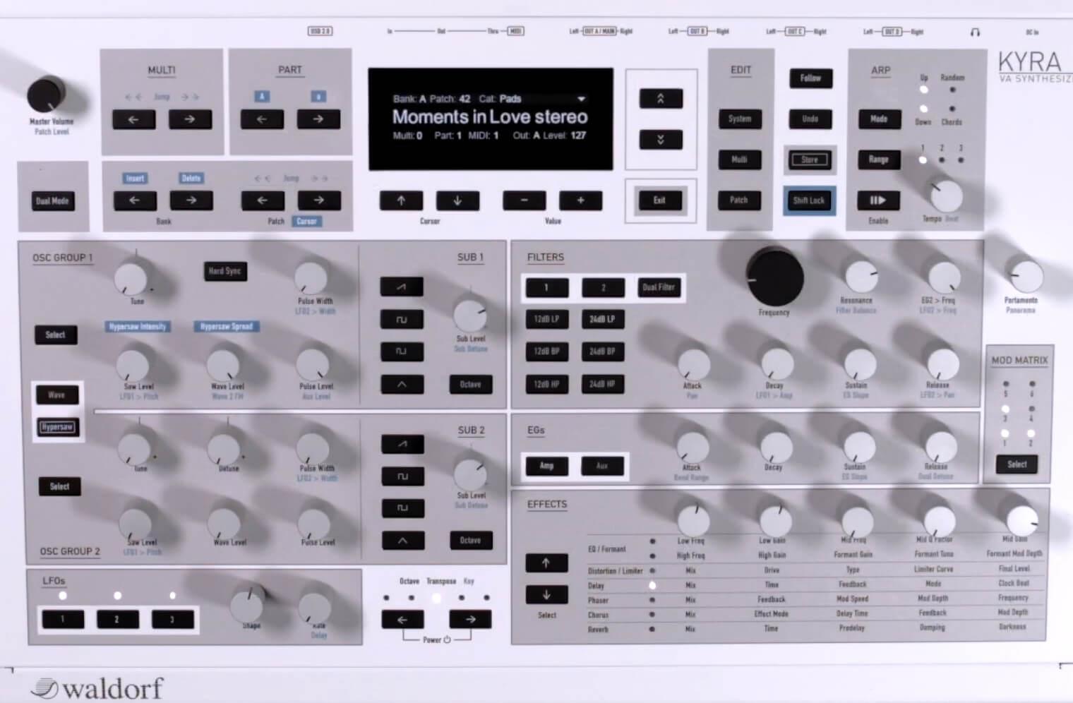 Waldorf's Kyra hardware virtual analog synthesizer now available